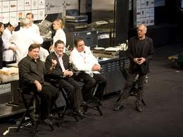 Chef Norman Van Aken with friends and fellow chefs Emerill Lagasse and Charlie Trotter